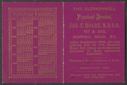 Advertisement for the Clerkenwell Practical Dentist, Jas. T Hoare